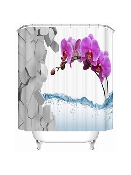 New Desigh 3D Fresh Flower Pattern Shower Curtain