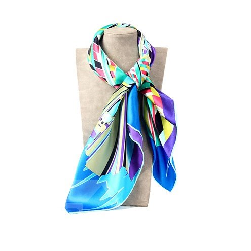 Beautiful Blue Geometric Patterns Mulberry Silk Soft Square Scarf