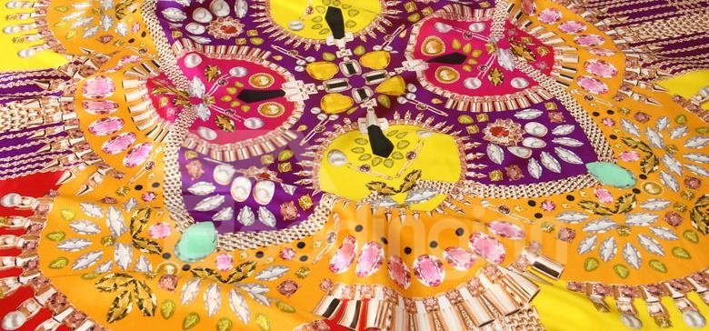 Deluxe Gems and Pearls Print Mulberry Silk Yellow Square Scarf
