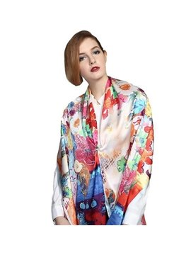 Colorful Magic Flowers Print Mulberry Silk Long Scarf