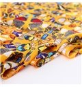 Beautiful Graceful Butterflies Print Mulberry Silk Yellow Square Scarf