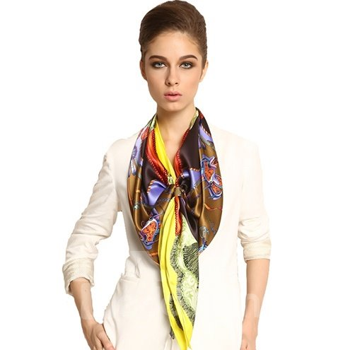 Deluxe Chic Yellow Ribbons and Tassels Print Mulberry Silk Square Scarf