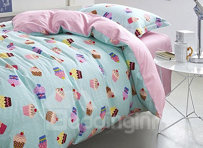 Magical Cupcake Pattern Kids Cotton 3-Piece Duvet Cover Sets