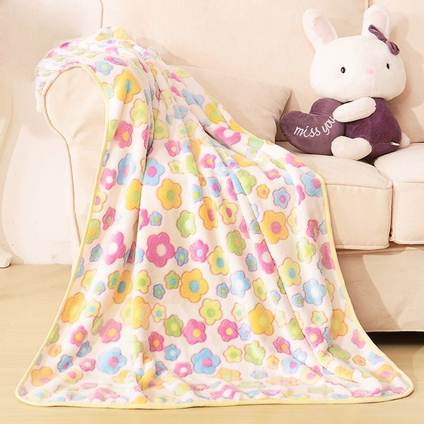 Colorful Flower Pattern Warm Flannel Baby Blanket