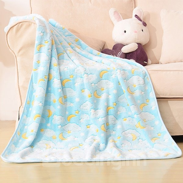 Light Blue Moon and Cloud Pattern Baby Blanket
