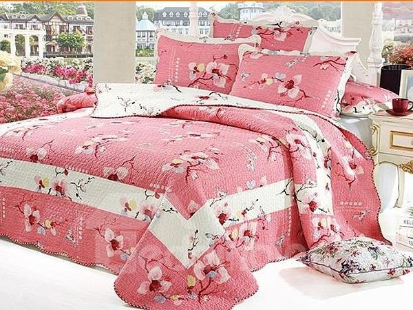 Sweet Flowers Full Cotton Pink 3-Piece Bed in a Bag