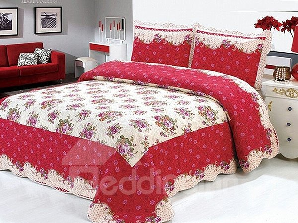Fancy Flowers 100% Cotton 3-Piece Bed in a Bag