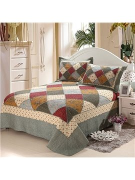 Classical Plaid Sweet Small Flowers Design Cotton Bed in a Bag