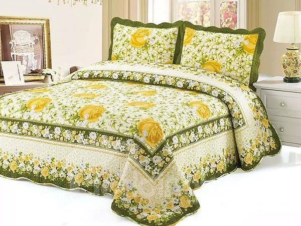 Graceful Yellow Rose Print Soft Cotton 3-Piece Bed in a Bag