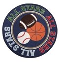 Round All Stars Basketball Tennis Ball Nursery Area Rugs