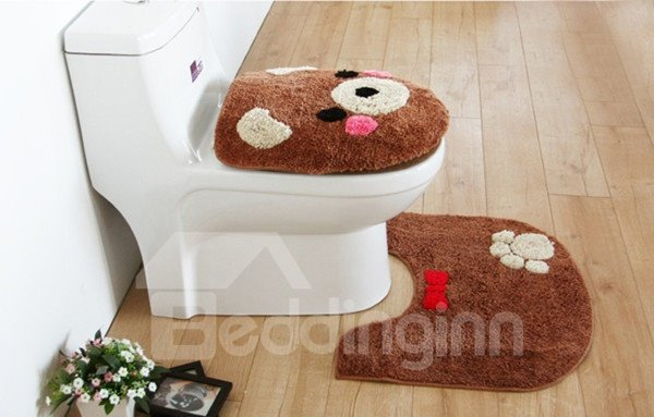 Cute Bear 3 Piece Toilet Seat Cover And Rug Set