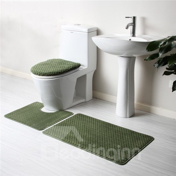 Cozy Pure Color 4-piece Toilet Seat Cover and Rug Set