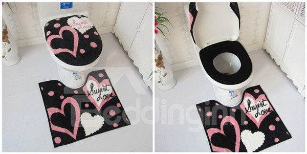 Romantic Pink Heart Print Toilet Seat Cover and Rug Set