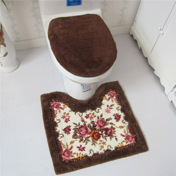 Soft And Warm Floral Print 3 Piece Toilet Seat Cover And