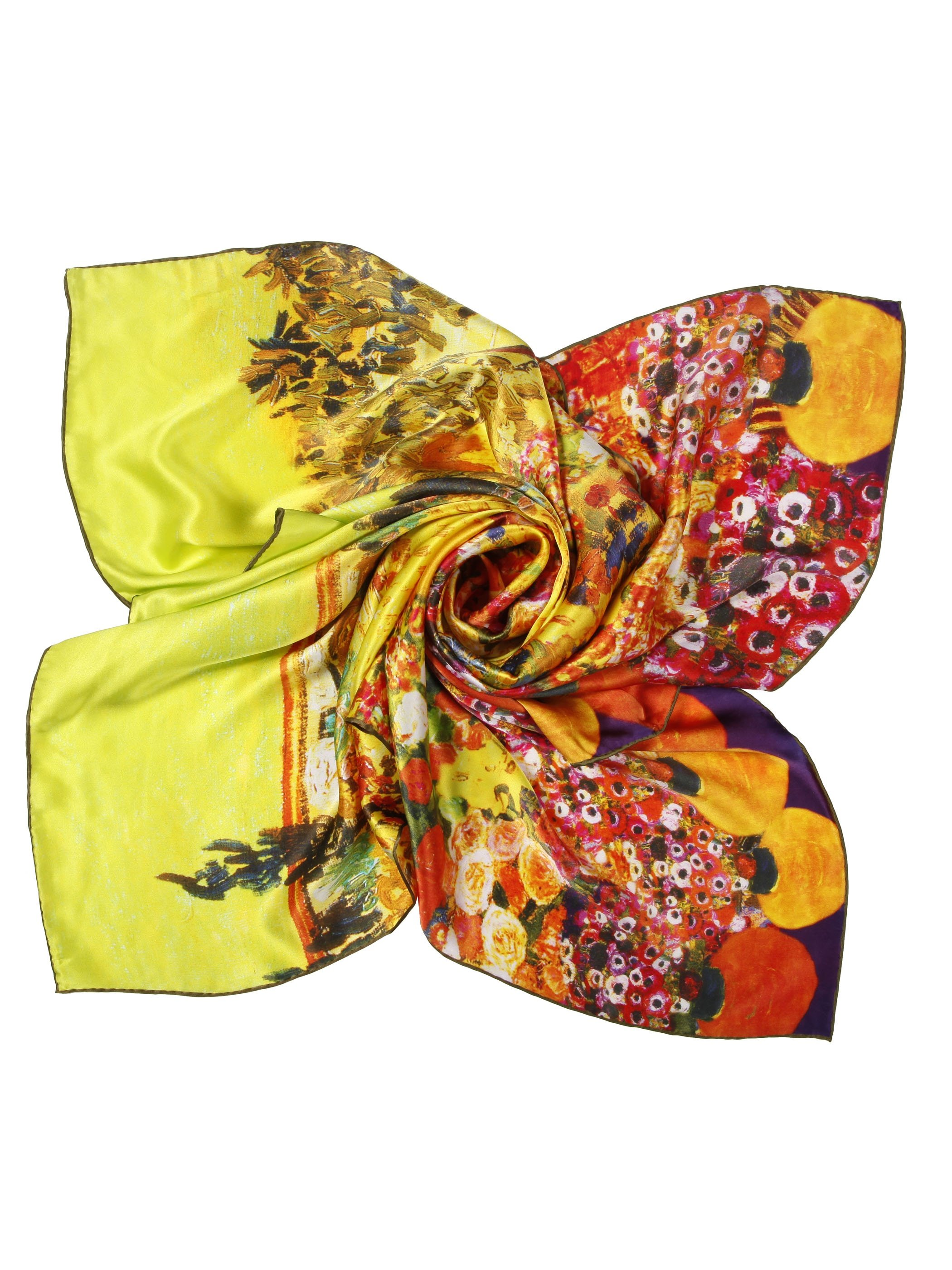 Gorgeous Flowers in Vases Print Soft Mulberry Silk Square Scarf