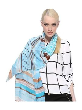 Blue And Brown Stripes Patterns Mulberry Silk Long Scarf
