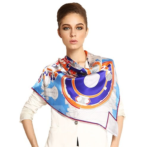 Fashion Unique Floral Patterns Soft Mulberry Silk Square Scarf
