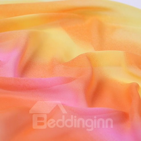 Stylish Gradient Yellow And Contra Trim Mulberry Silk Long Scarf