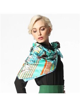 Green Racing Horse Knights Silk Beautiful Square Scarf