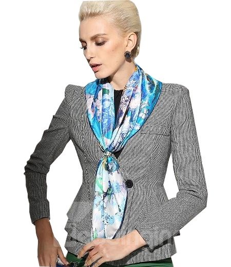 Dream of Eden Wonderful Blue Floral Silk Beautiful Square Scarf
