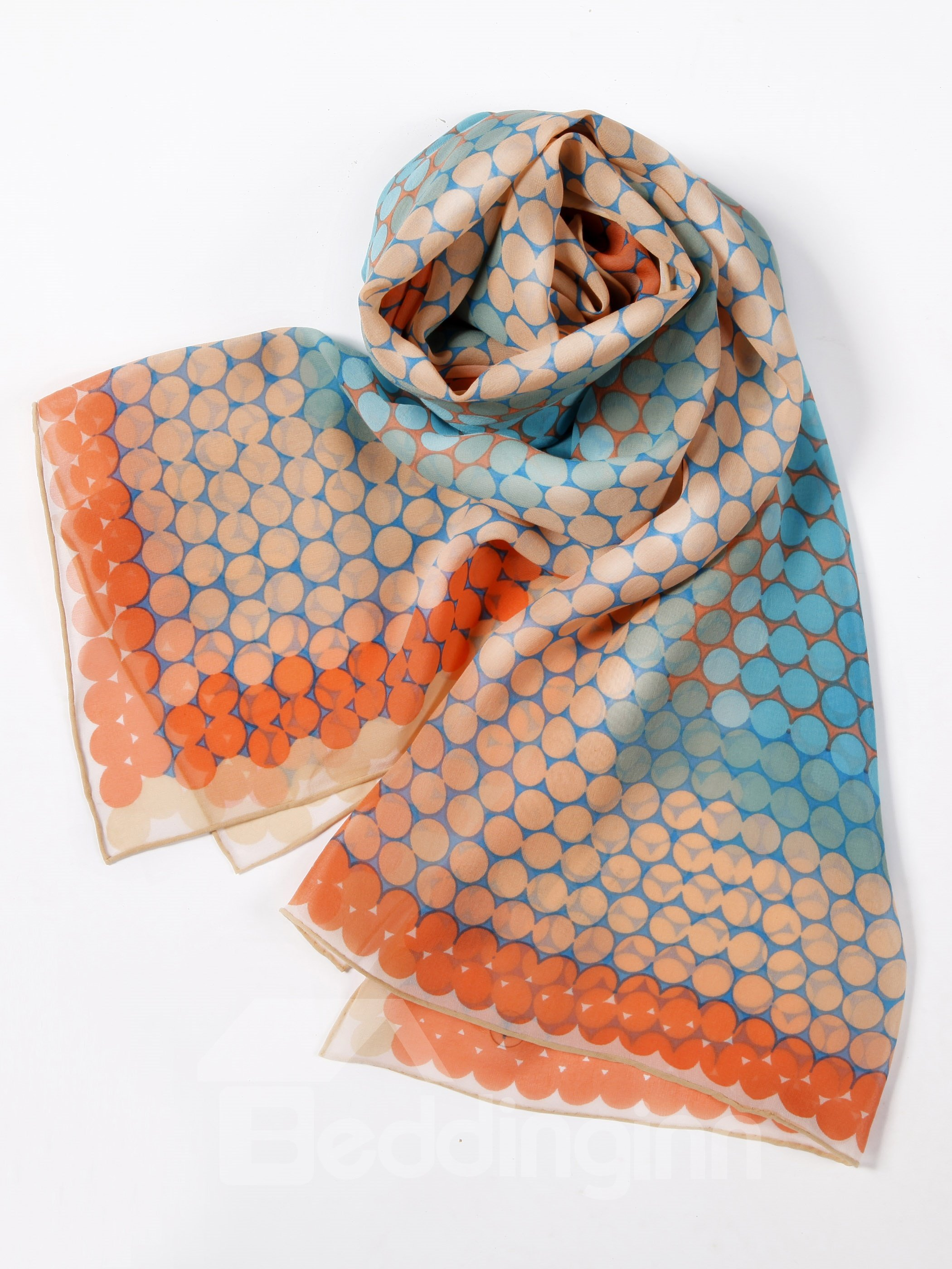 Cute Dots Scattered Blue Long Mulberry Silk Scarf