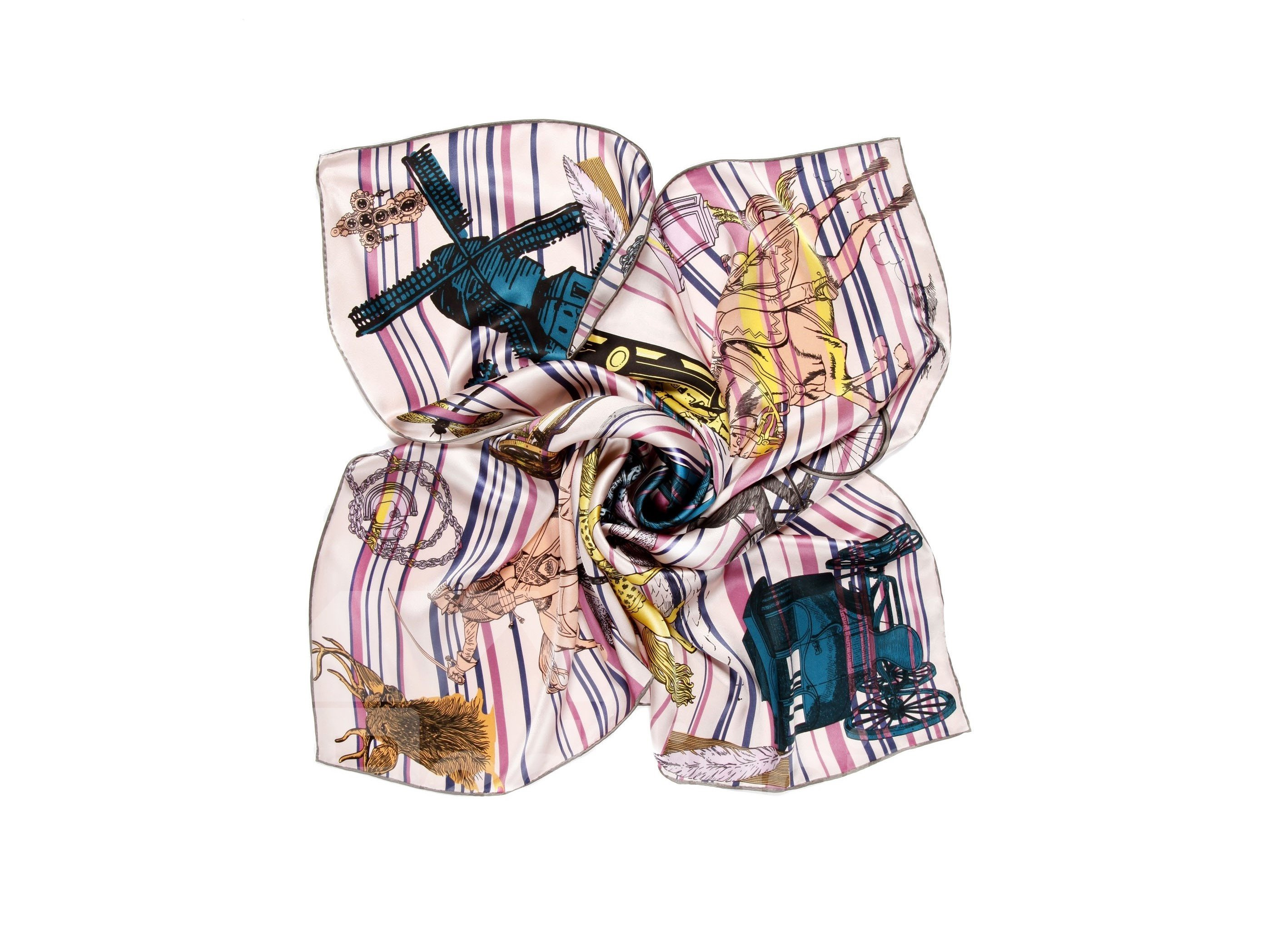 Wagon and Windmill Time Pink Beautiful Square Silk Scarf