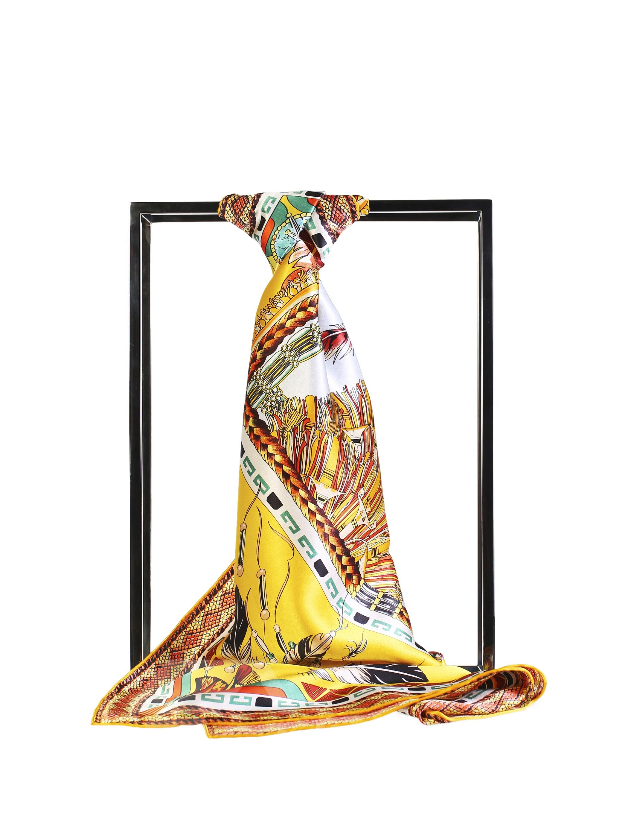 Feather Chain and Crown Party Yellow Beautiful Square Silk Scarf