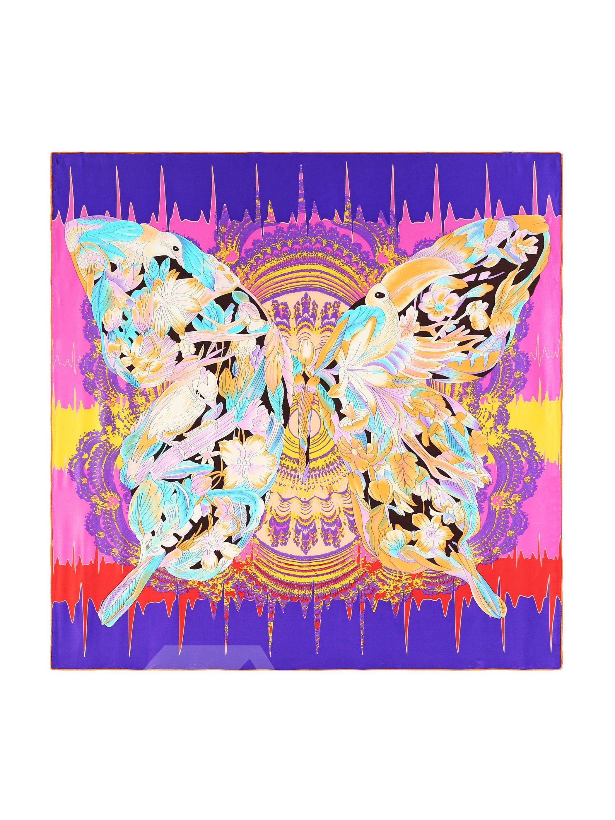 Birds With Butterfly Wings Colorful Beautiful Square Silk Scarf