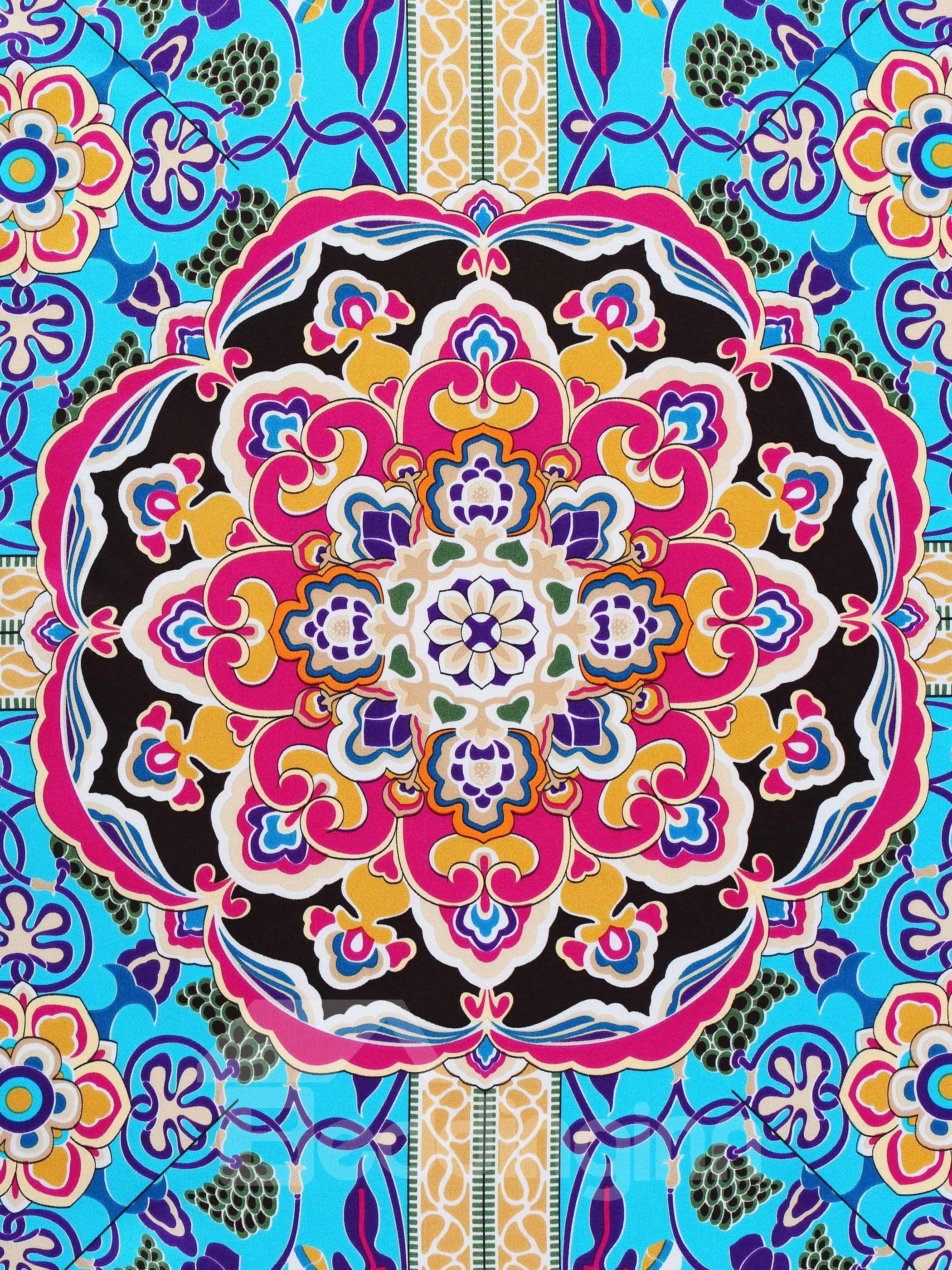 Fantastic Blue Fresco Picture Beautiful Square Mulberry Silk Scarf