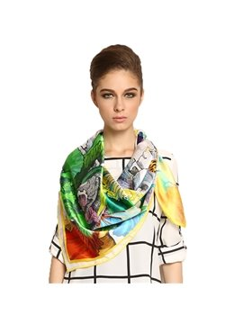 Gorgeous Delightful and Lively Butterfly Square Mulberry Silk Scarf