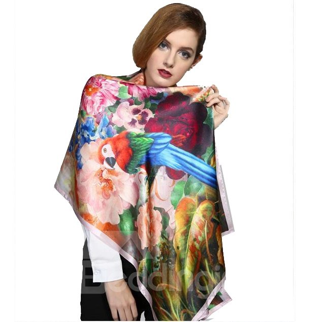 beautiful floral and birds pattern mulberry silk