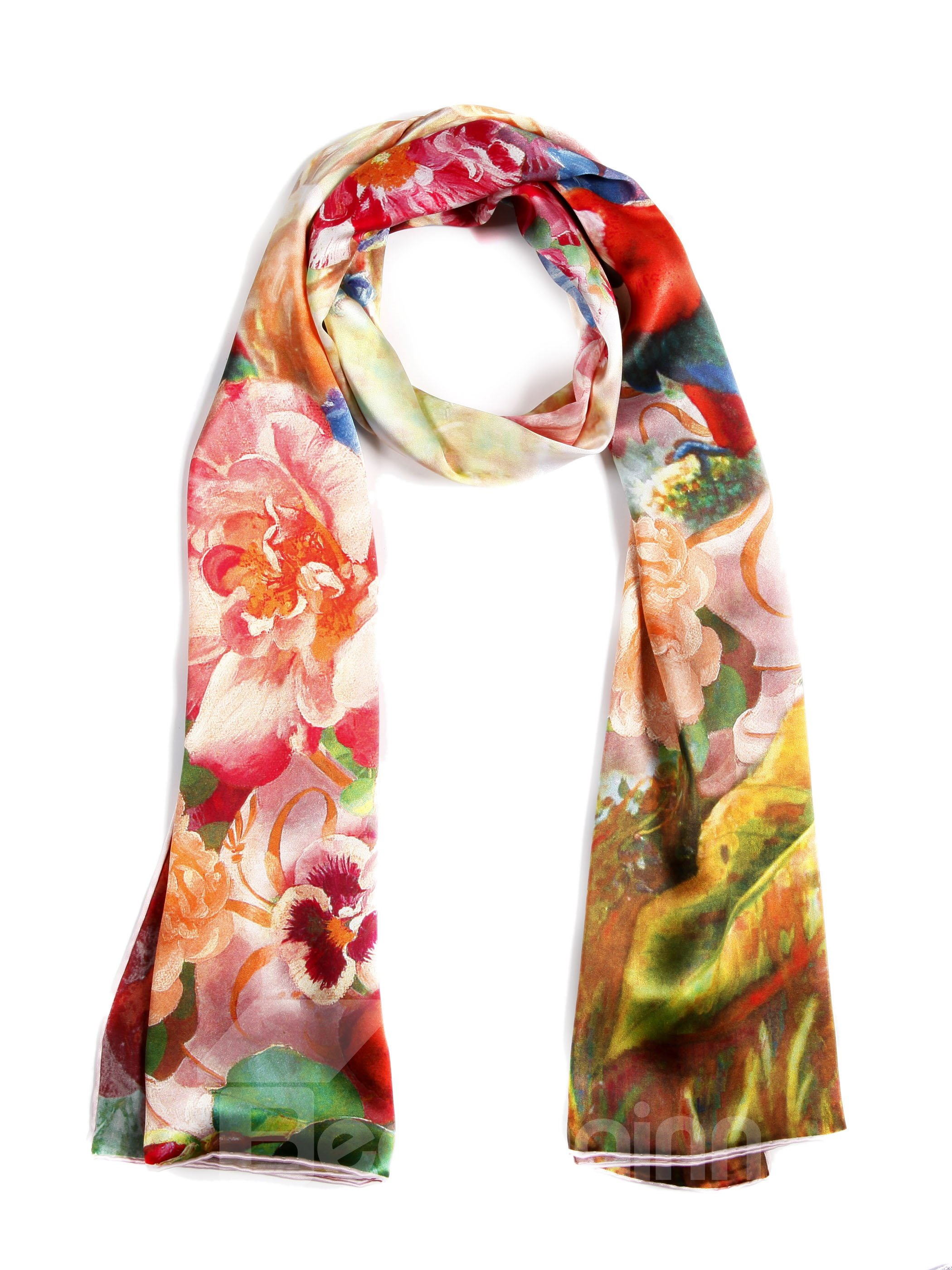 Beautiful Floral and Birds Pattern Long Mulberry Silk Scarf