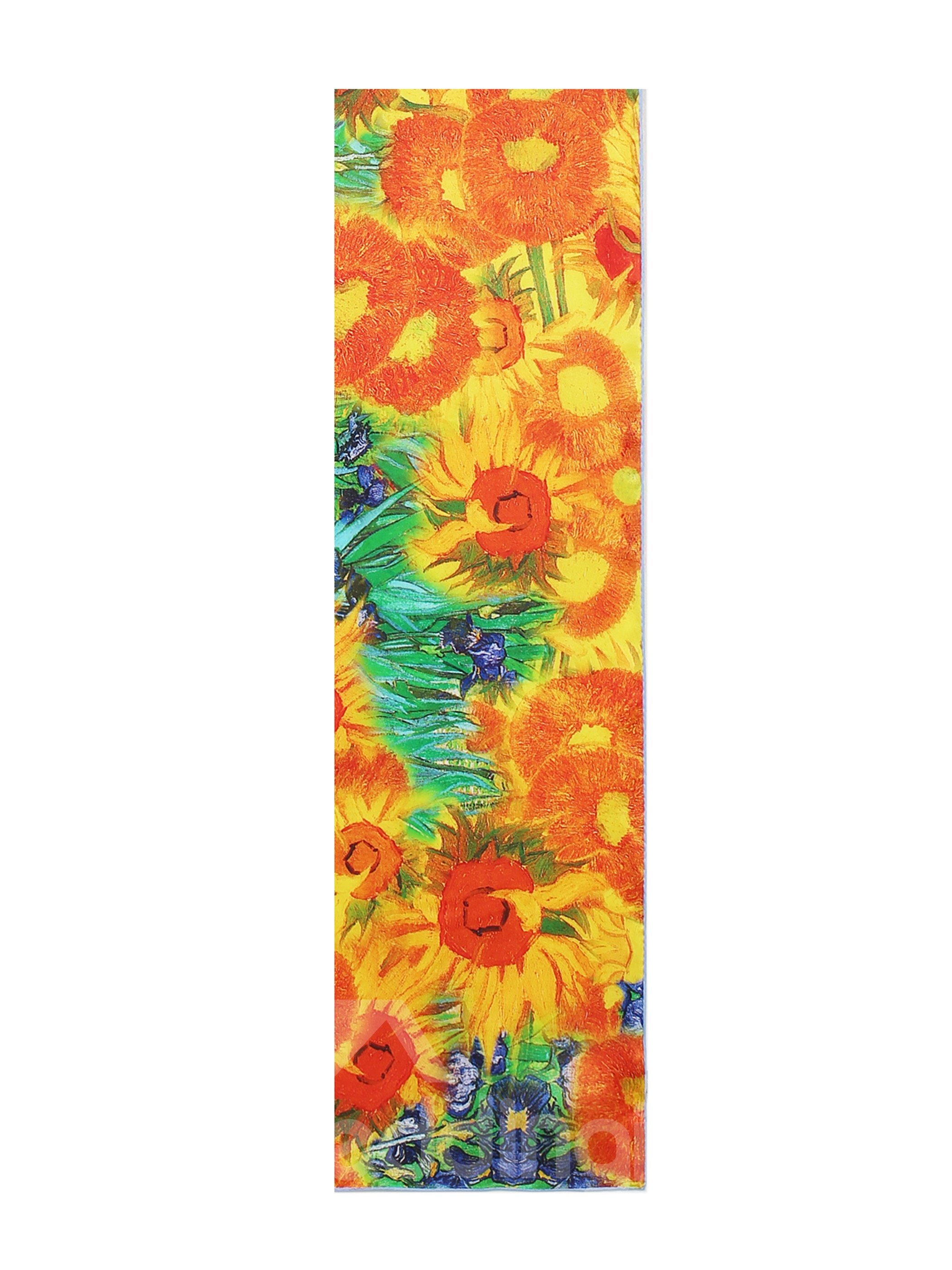 Yellow Flowers and Green Leaves Print Mulberry Silk Long Scarf