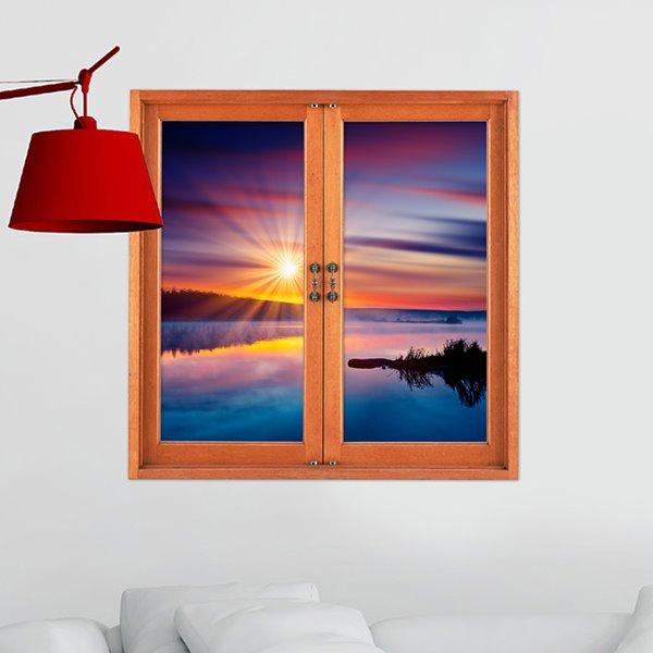 Amazing Sunset at Seaside Window View 3D Wall Sticker