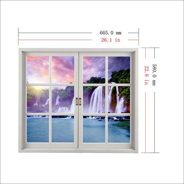 Majestic Waterfall Window View 3D Wall Sticker