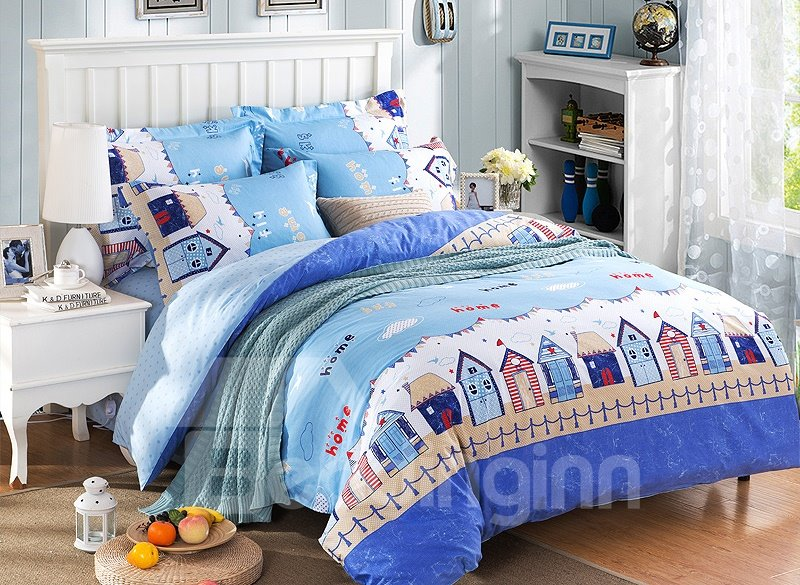 Little House Print Blue 4-Piece Duvet Cover Sets beddinginn