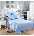 Little House Print Blue 4-Piece Duvet Cover Sets