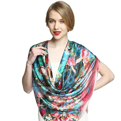 Beautiful Lotus Flowers and Seeds Print Soft Mulberry Silk Square Scarf