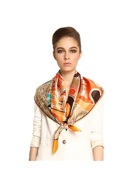 Luxury Unique Orange Floral Patterns Mulberry Silk Square Scarf