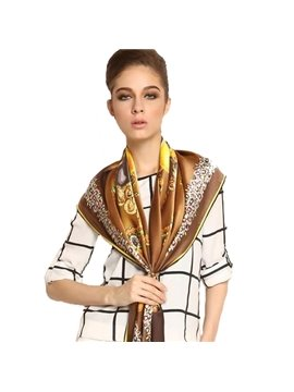 Lifelike Diamond And Flowers Brown Beautiful Square Silk Scarf