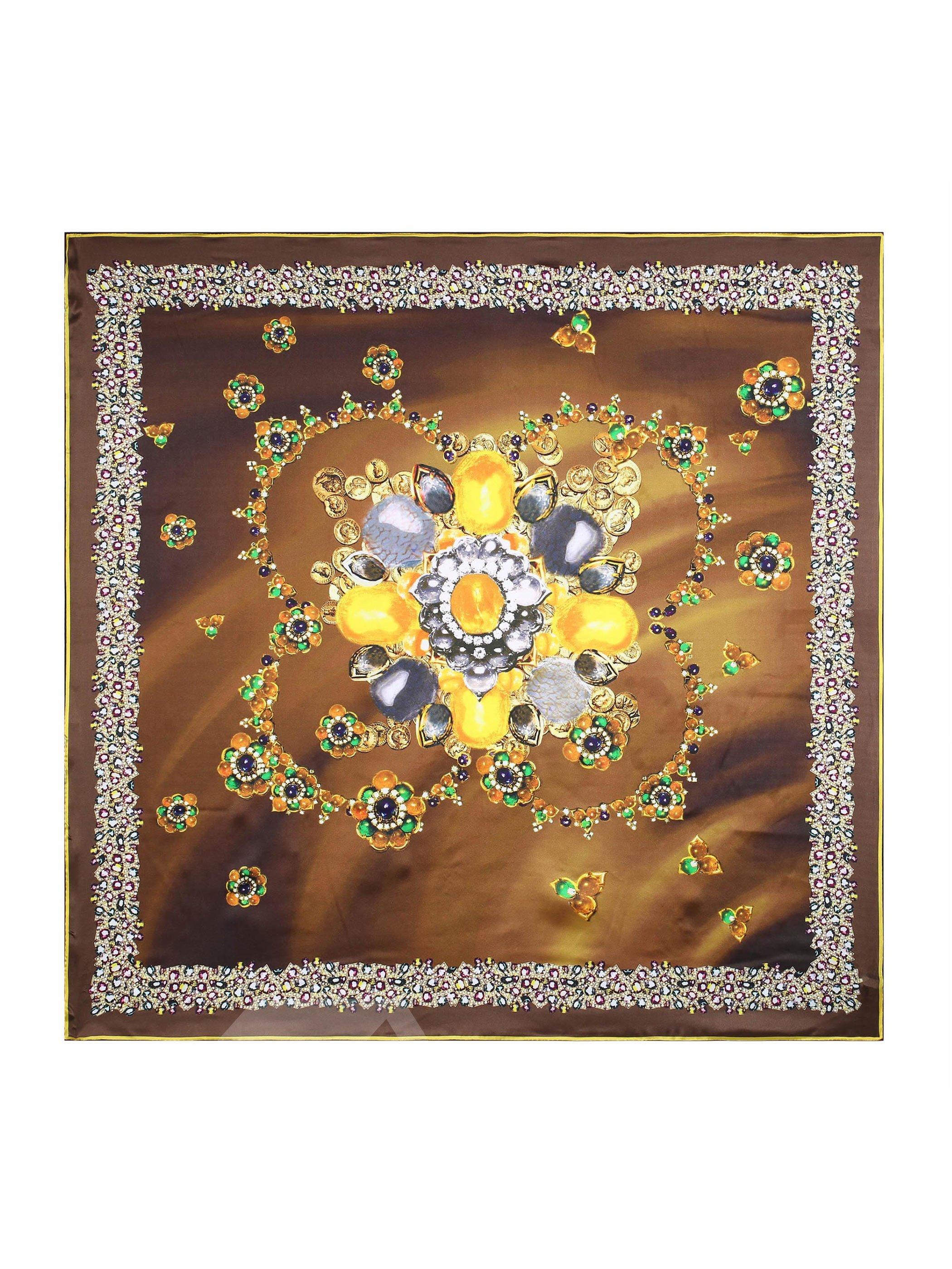 Lifelike Diamond And Flowers Brown Beautiful Square Silk Scarf
