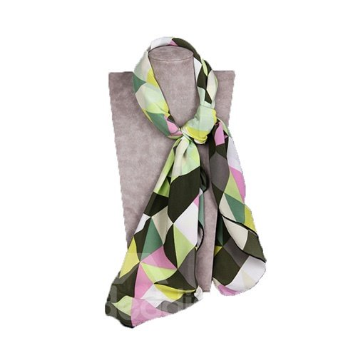 Beautiful Green Checks Patterns Mulberry Silk Square Scarf