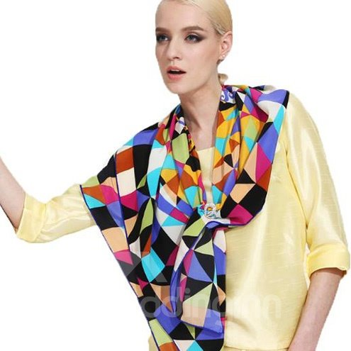 Deluxe Colorful Geometric Checks Patterns Mulberry Silk Square Scarf