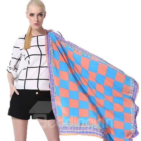 Beautiful Blue and Pink Checks and Chains Patterns Mulberry Silk Square Scarf