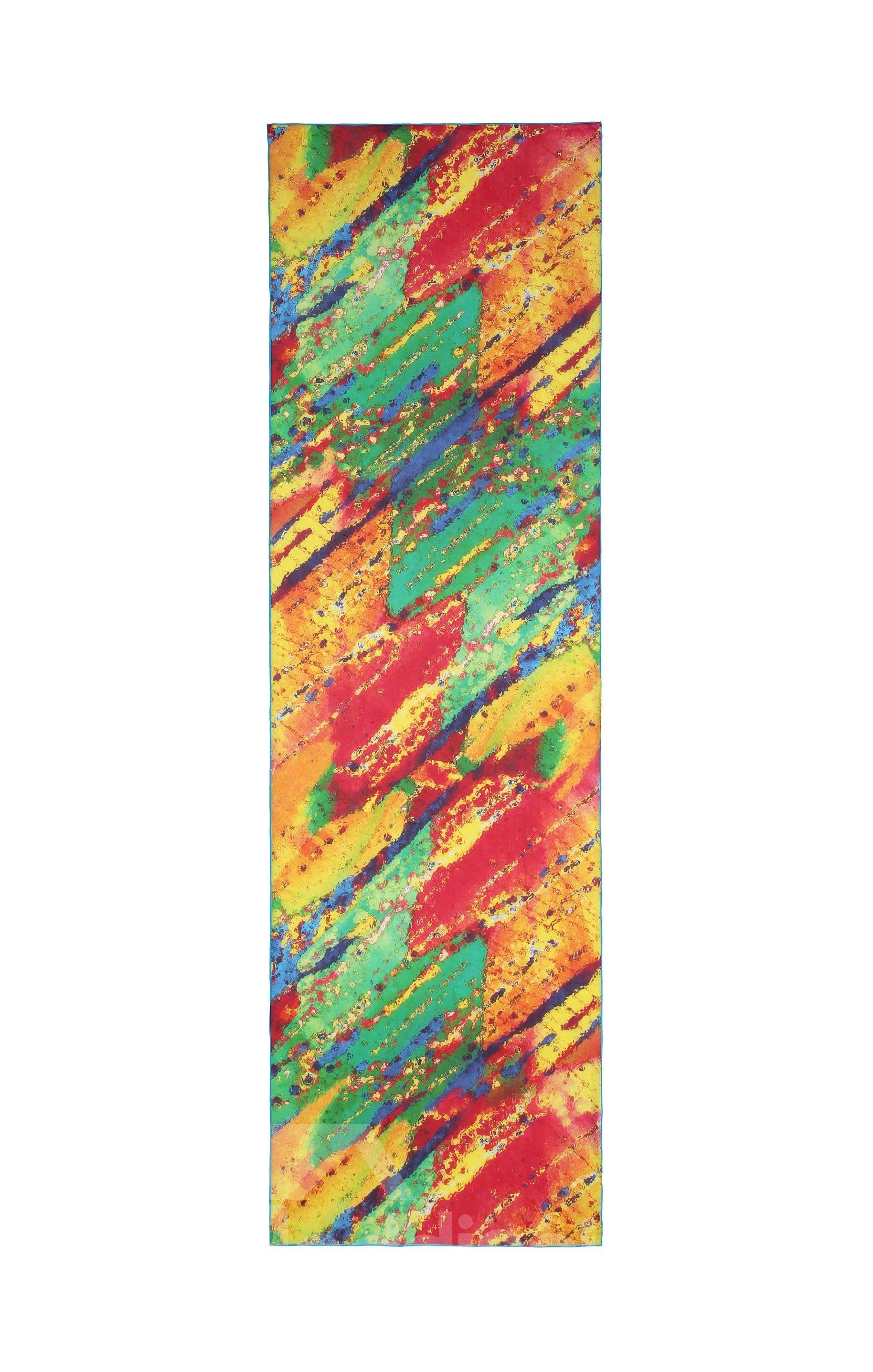Orange And Green Mix Diagonal Pattern Long Silk Scarf