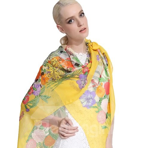 Trendy Various Yellow Flowers Print Mulberry Silk Long Scarf