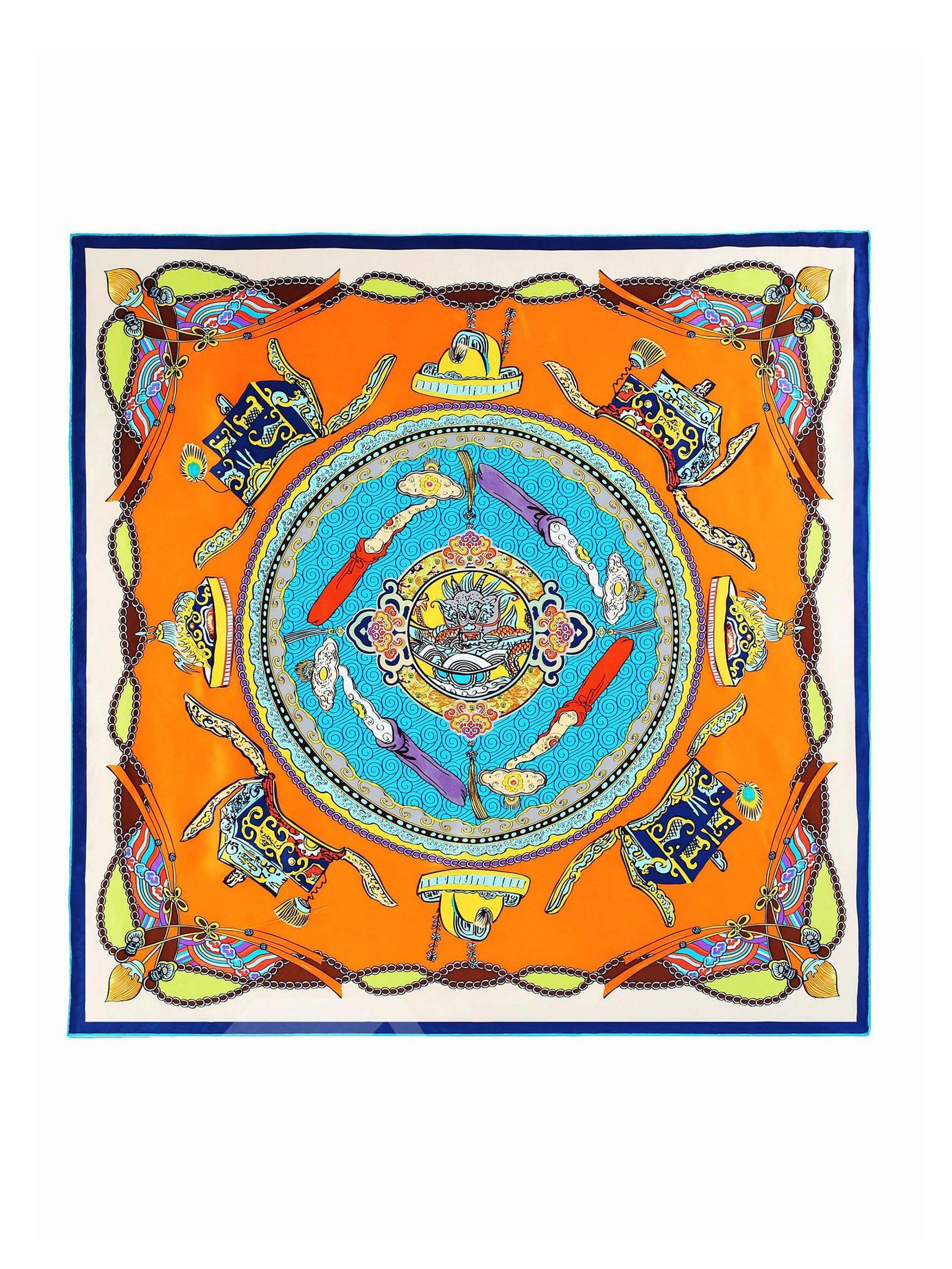 Pleasant Ancient Jade Mascot Pattern Silk Beautiful Square Scarf