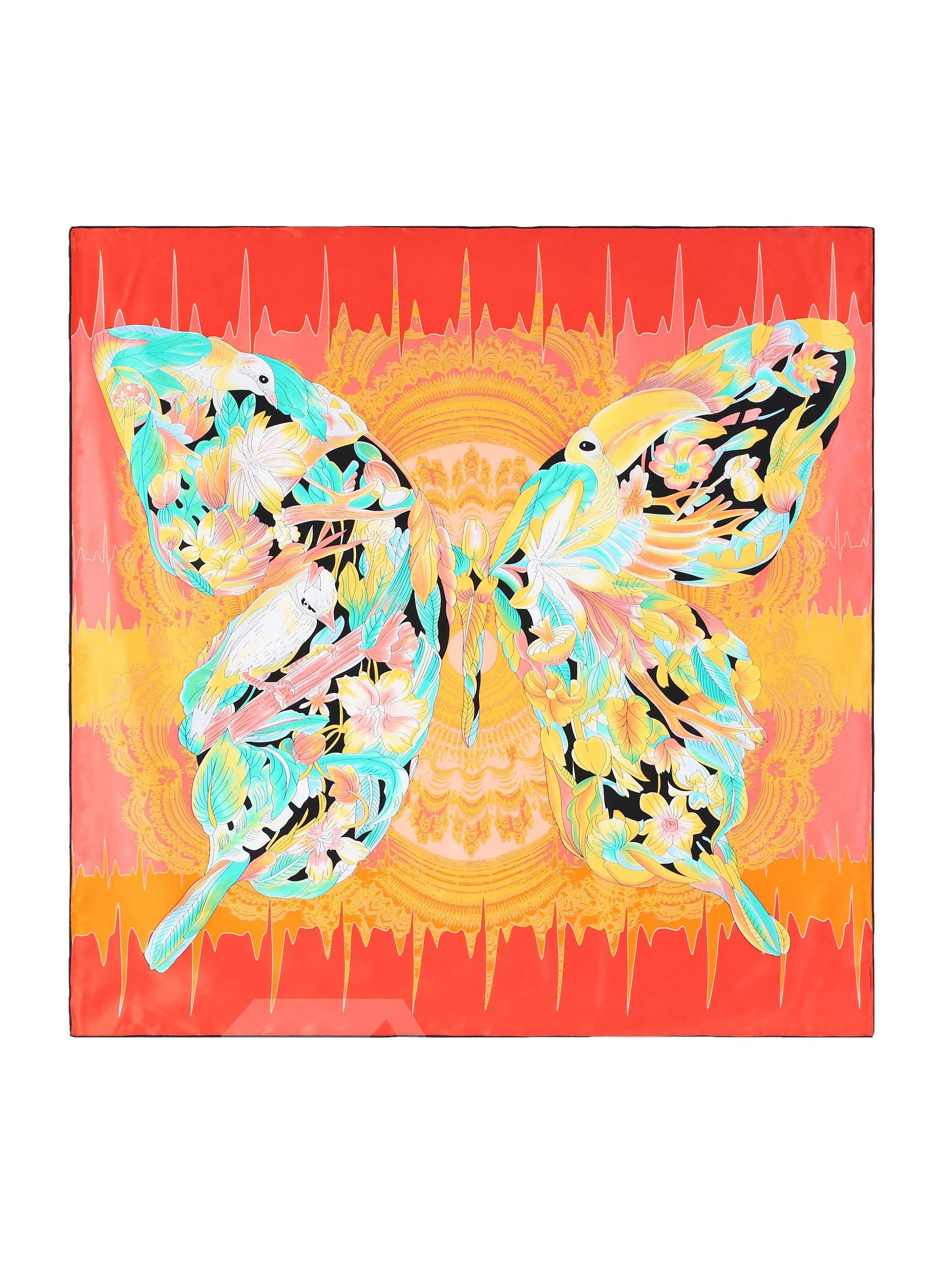 Birds On Butterfly Wings Orange Square Beautiful Silk Scarf
