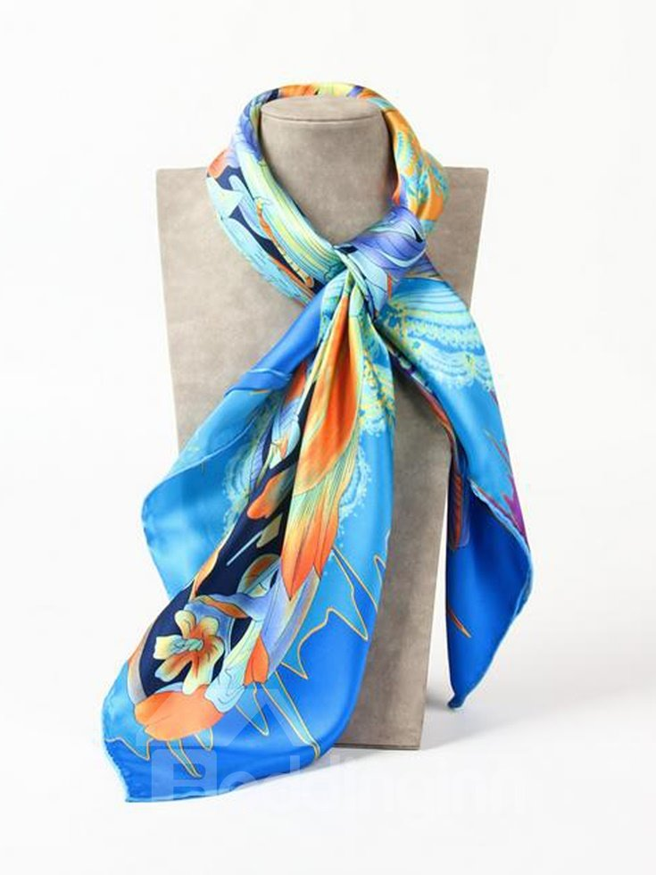Big Blue Butterfly And Wave Beautiful Square Silk Scarf