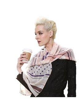 Light Coffee Girds and Stripes Patterns Mulberry Silk Long Scarf